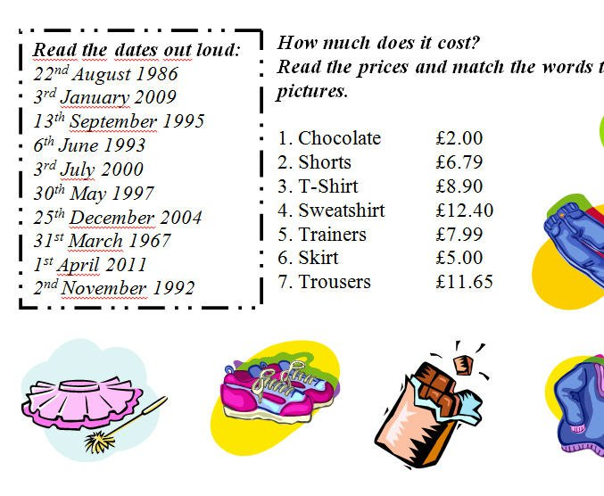 Numbers, Prices And Dates Worksheet