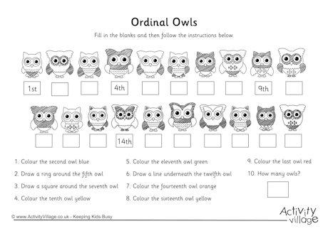 Ordinal Numbers Gap Worksheet 3