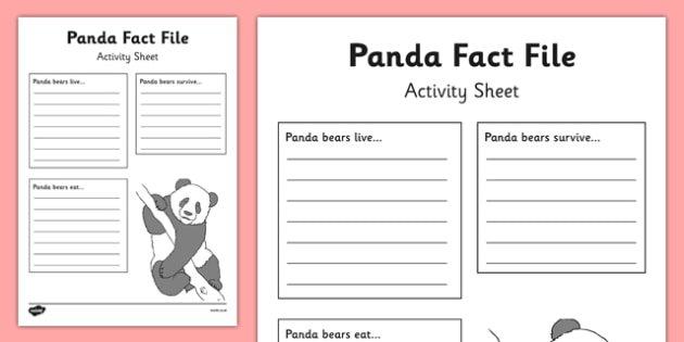 Panda Fact File Worksheet   Activity Sheet