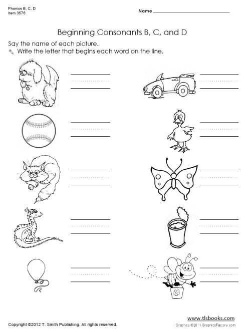 Phonics B, C, D Worksheet Set