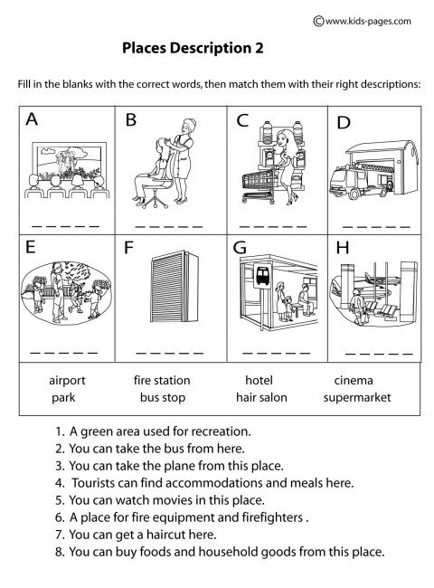 Place Descriptions 2 B&w Worksheets
