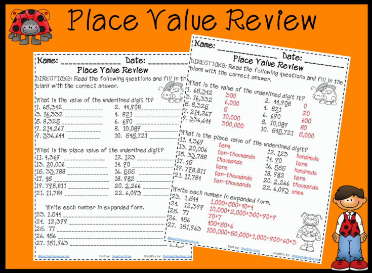 Place Value Review Worksheet Printable Worksheet With Answer Key
