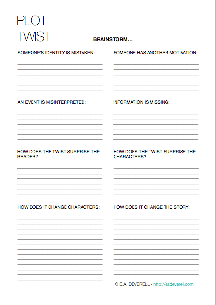 Plot Twists (writing Worksheet Wednesday)