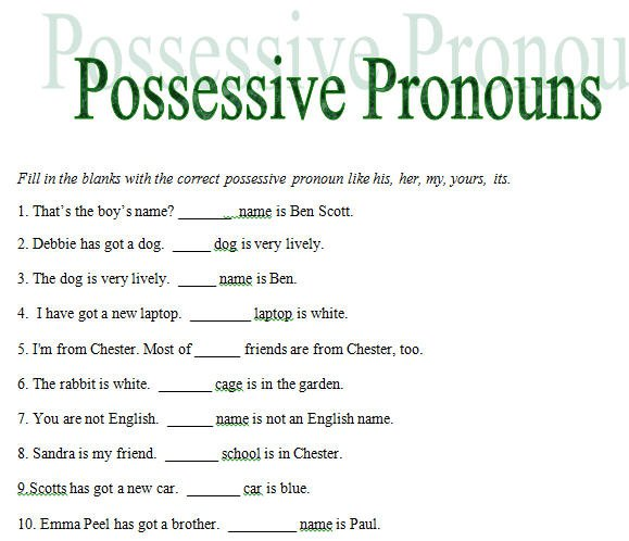 Possessive Pronouns Worksheets Free Worksheets Library
