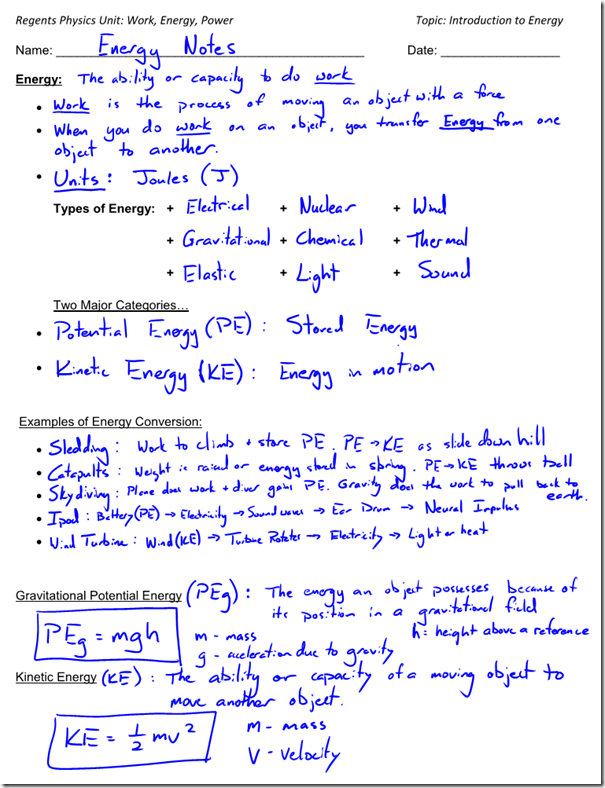 Potential And Kinetic Energy Worksheets Middle School Free