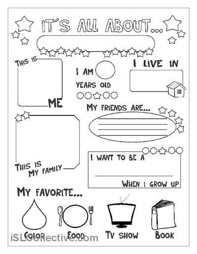 Preschool All About Me Worksheet