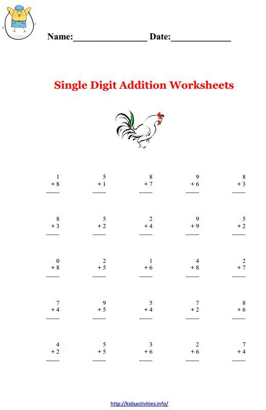 Printable Math Worksheets For Kindergarten Addition