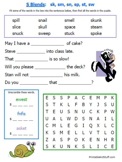 Printable Phonics Worksheets Puzzle Pages Consonant Blends Reading