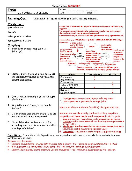 Pure Substances And Mixtures Worksheet Answers