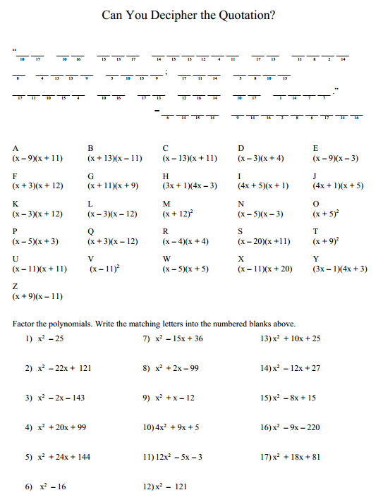 Puzzle  Factoring Trinomials – Denise Gaskins' Let's Play Math