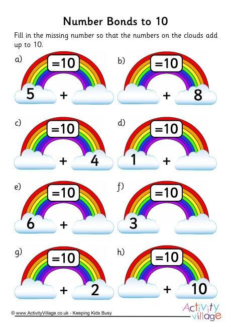 Rainbow Number Bonds Worksheet To 10