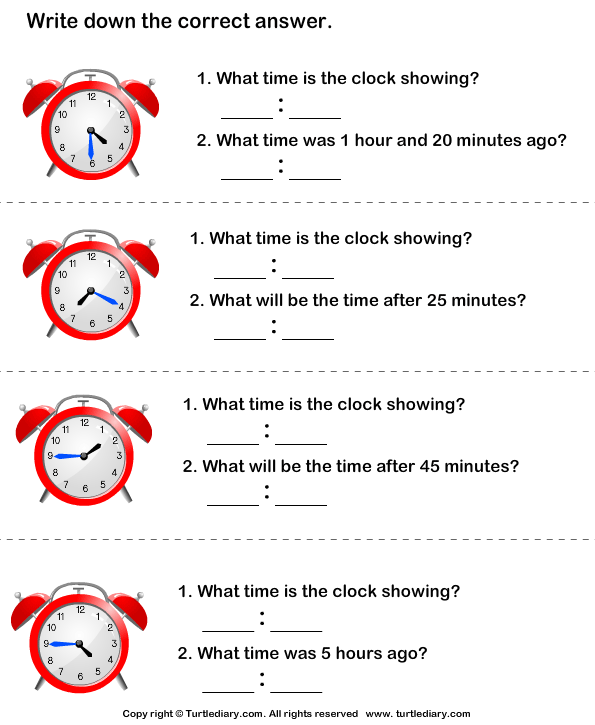 Read Analog Clock And Find End Time Worksheet