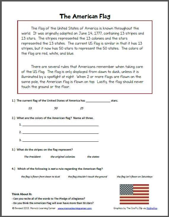 Reading Comprehension  The American Flag