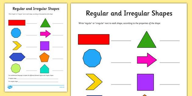 Regular And Irregular Shapes Worksheet   Activity Sheet