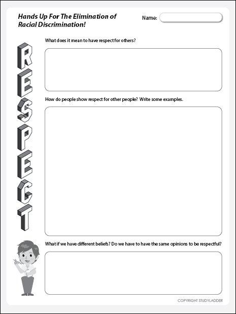 Respect Worksheet, Theme Based Learning Skills Online, Interactive