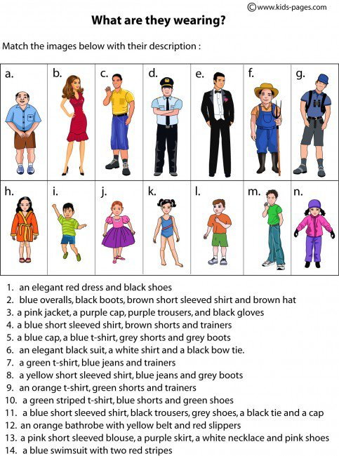 Review Of Types Of Clothing (he She Is Wearing) With Colors  +