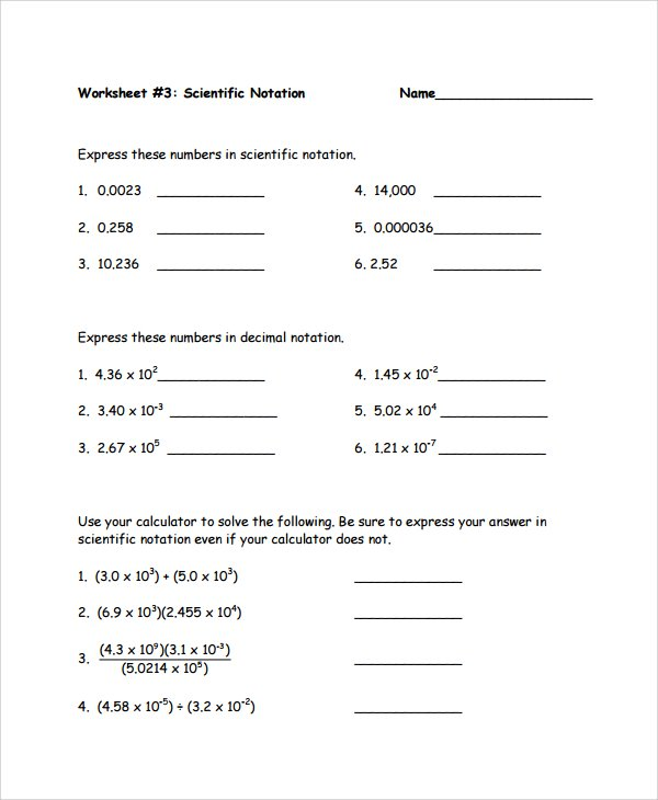 Scientific Notation Worksheet Chemistry Free Worksheets Library