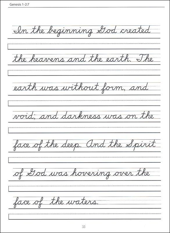 Scripture Character Writing Worksheets D'nealian Beginning Cursive