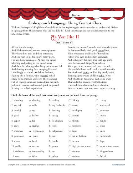 Shakespeare's Language  Using Context Clues