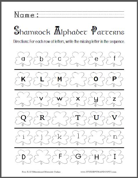 Shamrock Alphabet Patterns Worksheet