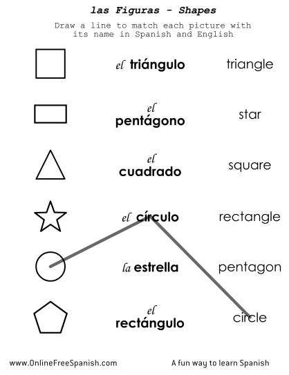 Shapes In Spanish Worksheet Free Worksheets Library