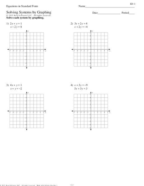 Solve Systems Of Equations By Graphing Worksheet Free Worksheets