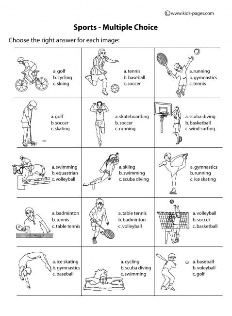 Sports Multiple Choice B&w Worksheet