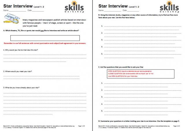 Star Interview Worksheets