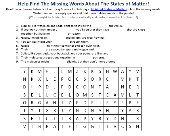 States Of Matter Science Facts Worksheet Image