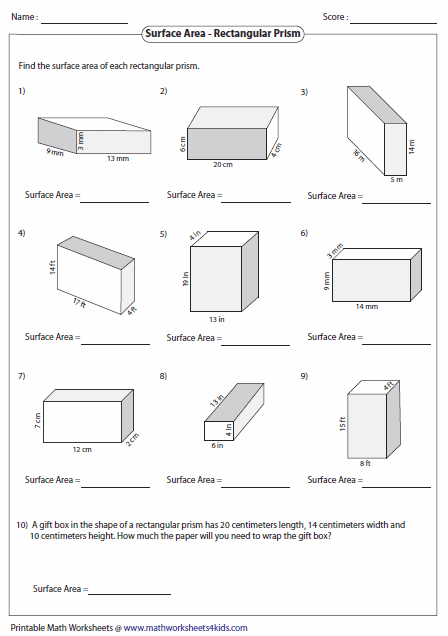 Surface Area Rectangular Prism Worksheet Free Worksheets Library