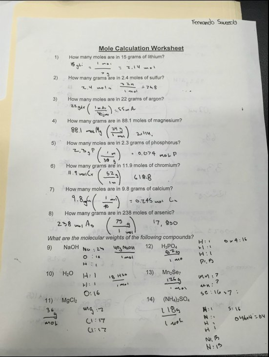 Take Paraphrasing Tier Grams Moles Calculations Worksheet Answers