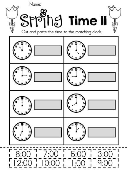 Telling The Time Kindergarten Math Worksheets