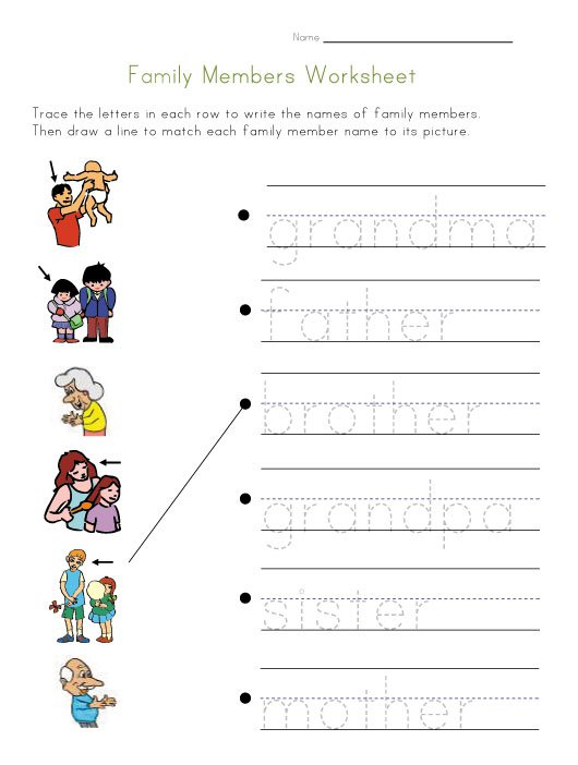 The Family Members Worksheets For Kids