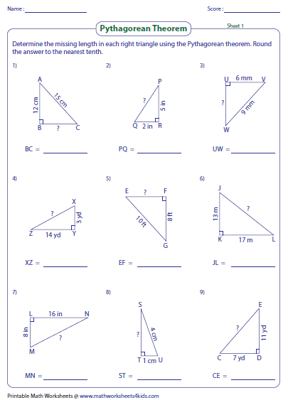 The Pythagorean Theorem Worksheet Answers Free Worksheets Library