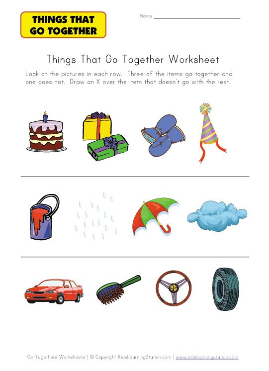 Things That Go Together Worksheets Free Worksheets Library