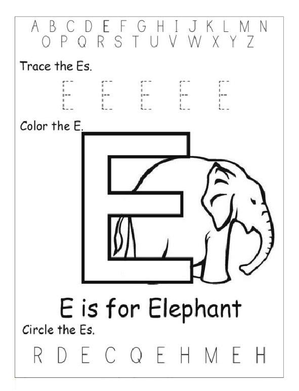 Trace Letter E