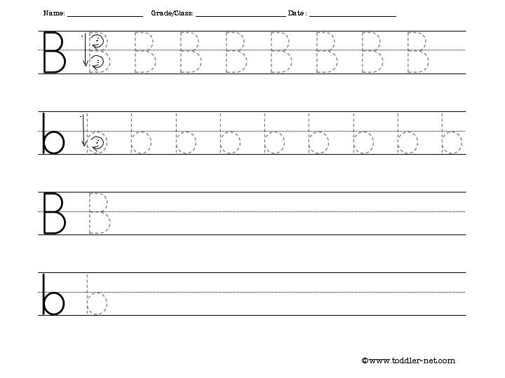 Tracing And Writing Letter B Worksheet