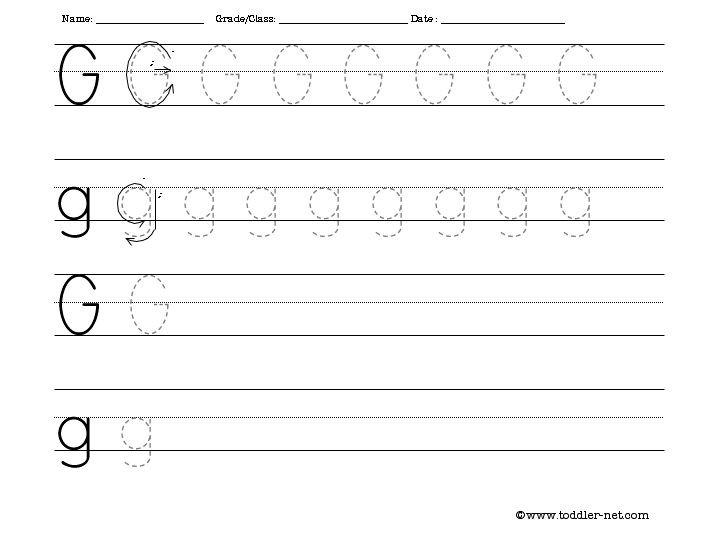 Tracing And Writing Letter G Worksheet