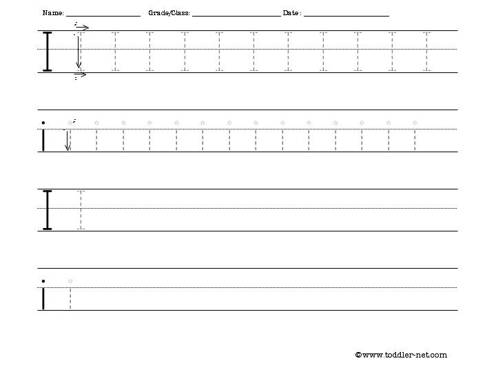 Tracing And Writing Letter I Worksheet