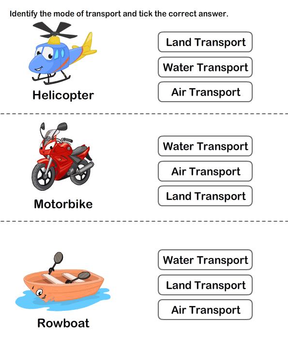 Transports Worksheets For Kids