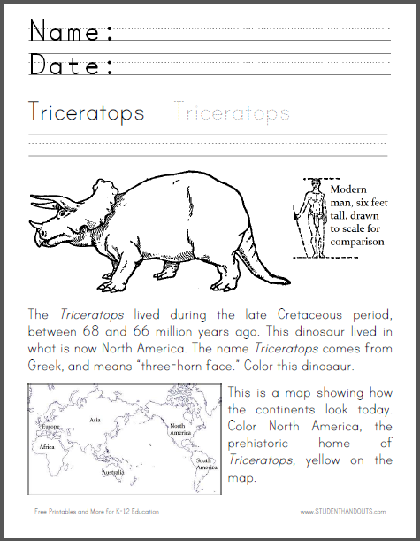 Triceratops Coloring Worksheet