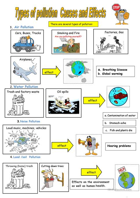 Types Of Pollution Worksheet