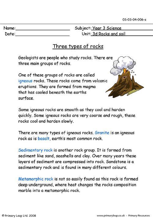 Types Of Rocks Worksheet Free Worksheets Library