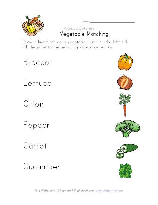 Vegetable Matching Worksheet