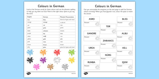 Vocabulary Colours Primary Resources