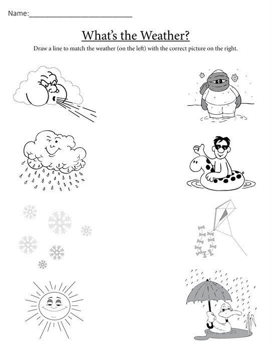What's The Weather   Free Printable Matching Worksheet