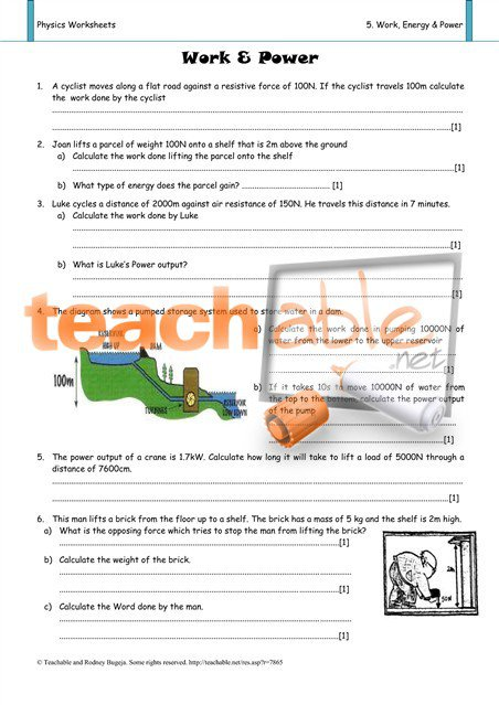 Work Power Energy Worksheet Free Worksheets Library