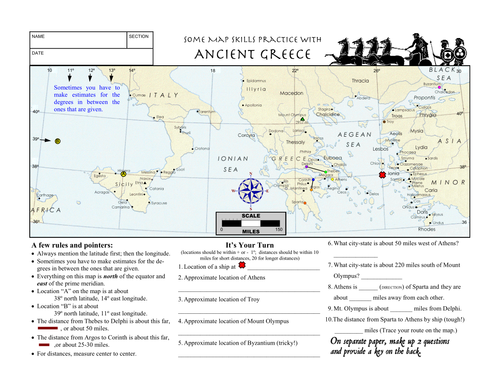 Worksheet Ancient Greece Latitude Longitude Questions & Map