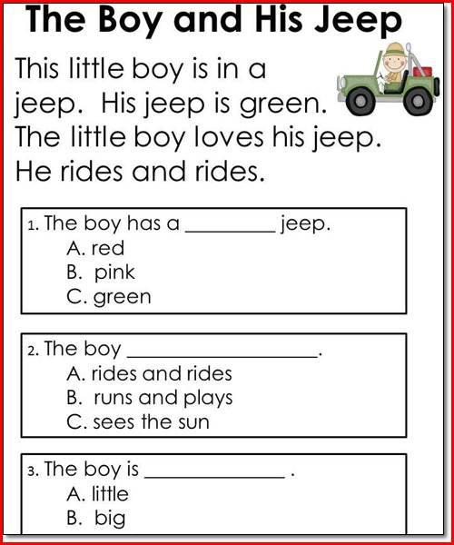 Worksheet For Kindergarten Reading Free Worksheets Library