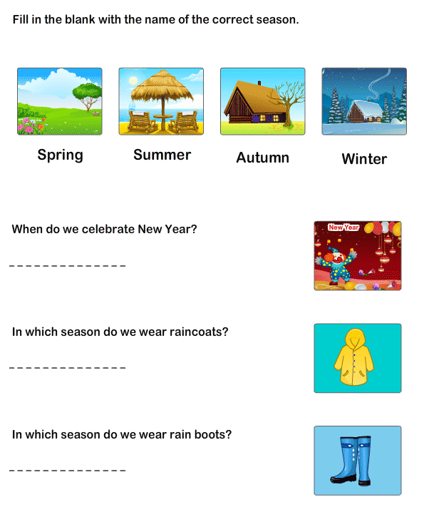 Worksheet To Learn Seasons